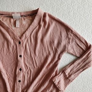 Knox Rose Waffle Knit Button Down with Front Tie